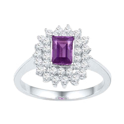 10kt White Gold Womens Emerald Lab-Created Amethyst Solitaire Diamond Cluster Ring 1-1/3 Cttw