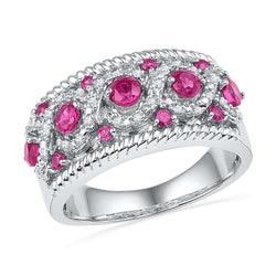 10kt White Gold Womens Round Lab-Created Pink Sapphire Diamond Roped Band 1-1/10 Cttw