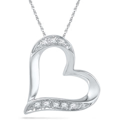 10kt White Gold Womens Round Diamond Heart Outline Pendant .03 Cttw