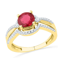 10kt Yellow Gold Womens Round Lab-Created Ruby Solitaire Ring 2-1/12 Cttw