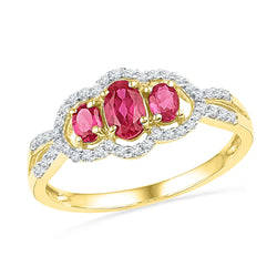 10kt Yellow Gold Womens Oval Lab-Created Ruby 3-stone Diamond Frame Ring 7/8 Cttw