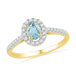 10kt Yellow Gold Womens Oval Lab-Created Aquamarine Solitaire Diamond Ring 1/5 Cttw
