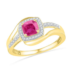 10kt Yellow Gold Womens Princess Lab-Created Pink Sapphire Solitaire Ring 1-1/10 Cttw