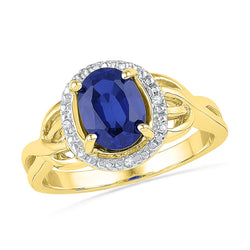 10kt Yellow Gold Womens Oval Lab-Created Blue Sapphire Solitaire Diamond Ring .02 Cttw
