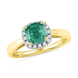 10kt Yellow Gold Womens Emerald Lab-Created Emerald Solitaire Ring 1-1/2 Cttw