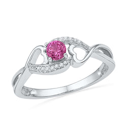 10kt White Gold Womens Round Lab-Created Pink Sapphire Diamond Heart Ring 1/20 Cttw