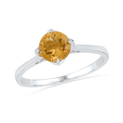 Sterling Silver Womens Round Lab-Created Citrine Solitaire Bridal Ring 3/4 Cttw