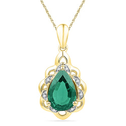 10kt Yellow Gold Womens Pear Lab-Created Emerald Solitaire Diamond Pendant 3-3/8 Cttw