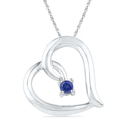 Sterling Silver Womens Round Lab-Created Blue Sapphire Heart Pendant 1/8 Cttw