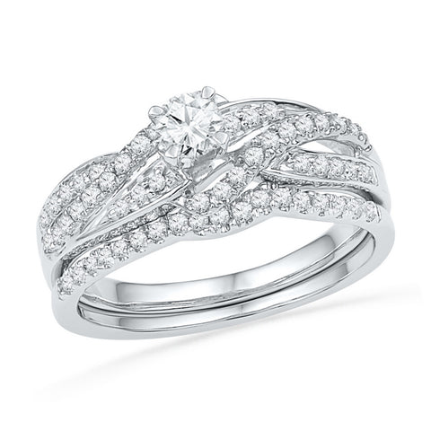 10K White Gold Bridal Swirl Real Diamond Wedding Engagement Ring Set 1/2 CT
