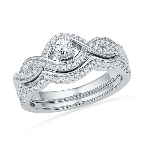 10k White Gold Womens Round Diamond Bridal Wedding Engagement Ring Band Set 1/2 Cttw