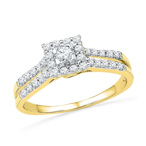 10k Yellow Gold Womens Round Diamond Square-shape Halo Bridal Engagement Ring 1/2 Cttw