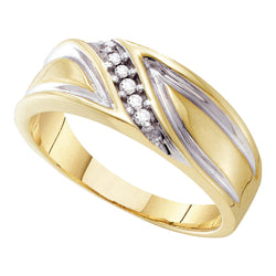 10kt Yellow Gold Mens Round Diamond Band Wedding Anniversary Ring 1/10 Cttw