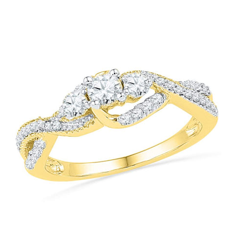10K Yellow Gold Diamond 3-stone Infinity Bridal Wedding Engagement Ring 5/8 CT