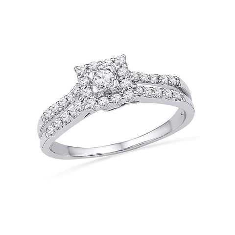 10k White Gold Womens Round Diamond Square-shape Halo Bridal Engagement Ring 1/2 Cttw