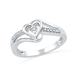10kt White Gold Womens Round Diamond Heart Love Promise Bridal Ring .03 Cttw