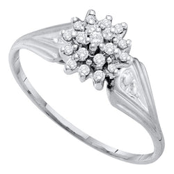 10kt White Gold Womens Round Diamond Cluster Ring 1/10 Cttw