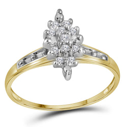 10kt Yellow Gold Womens Round Diamond Marquise-shape Cluster Ring 1/10 Cttw