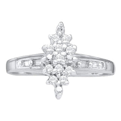 10kt White Gold Womens Round Diamond Marquise-shape Cluster Ring 1/10 Cttw