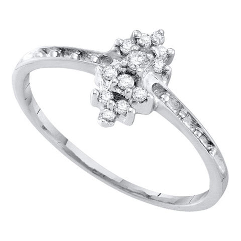 10kt White Gold Womens Round Orong-set Diamond Small Cluster Ring 1/8 Cttw
