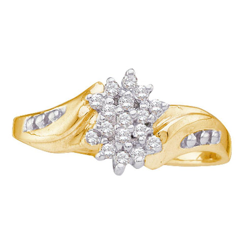 10kt Yellow Gold Womens Round Diamond Cluster Ring 1/8 Cttw