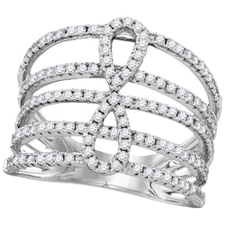 18kt White Gold Womens Round Diamond Infinity Strand Open Band 3/4 Cttw