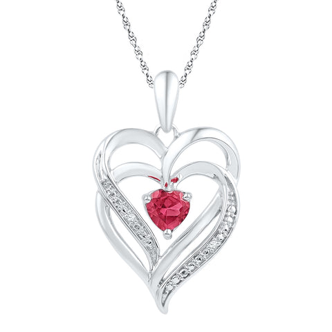 Sterling Silver Womens Round Lab-Created Ruby & Diamond Heart Love Pendant .01 Cttw