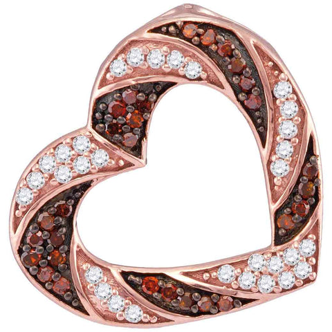 10kt Rose Gold Womens Round Red Colored Diamond Alternating Stripe Heart Outline Pendant 1/2 Cttw