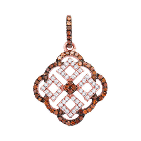 10kt Rose Gold Womens Round Red Colored Diamond Square Cluster Pendant 1/2 Cttw