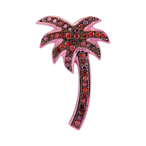 10kt Rose Gold Womens Round Red Colored Diamond Palm Tree Beach Pendant 1/4 Cttw