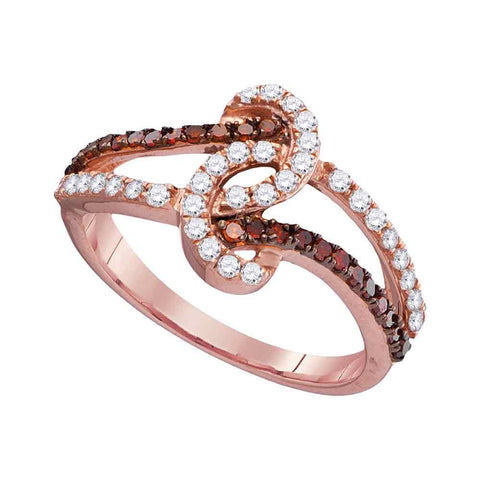 10kt Rose Gold Womens Round Red Colored Diamond Twist Band Ring 1/2 Cttw