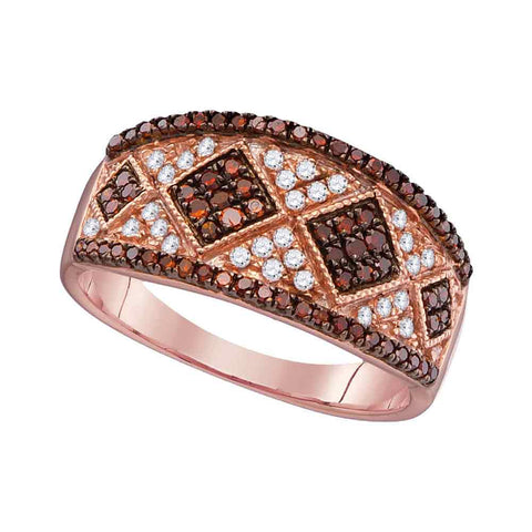 10kt Rose Gold Womens Round Red Colored Diamond Striped Cluster Band Ring 1/2 Cttw
