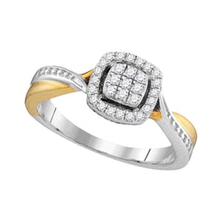 10kt Two-tone Gold Womens Round Diamond Square Cluster Bridal Wedding Engagement Ring 1/5 Cttw