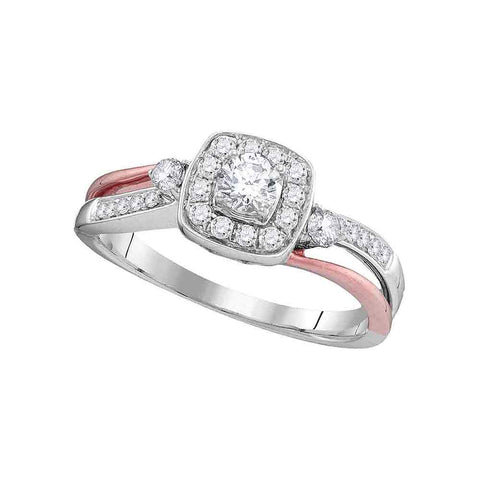 10k White Gold Womens Round Diamond 2-tone Bridal Wedding Engagement Anniversary Ring 1/2 Cttw
