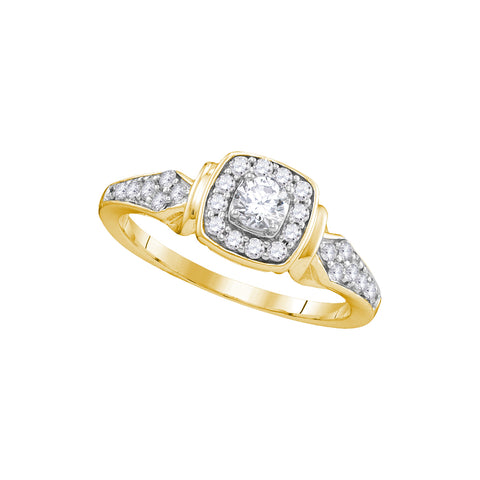 10k Yellow Gold Womens Round Diamond Halo Bridal Wedding Engagement Anniversary Ring 1/2 Cttw