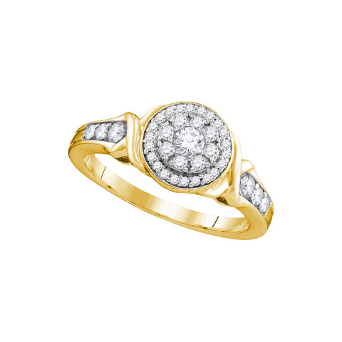 10k Yellow Gold Womens Round Diamond Halo Bridal Wedding Engagement Ring 1/2 Cttw