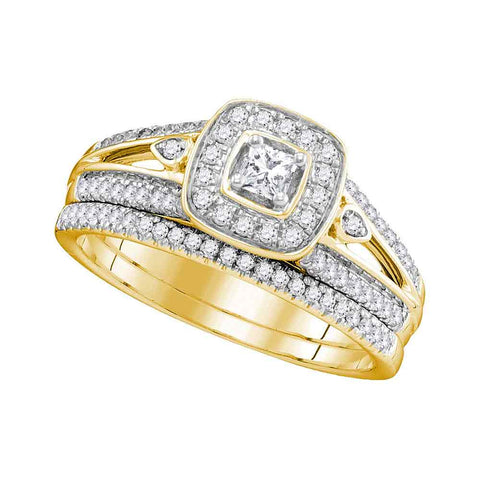 10k Yellow Gold Womens Princess Diamond Halo Bridal Wedding Engagement Ring Band Set 1/2 Cttw