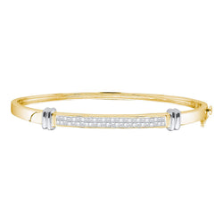 14kt Two-tone Yellow Gold Womens Princess Diamond Bangle Bracelet 1.00 Cttw