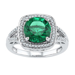 10kt White Gold Womens Round Lab-Created Emerald Solitaire Square Diamond Frame Ring 4-1/6 Cttw