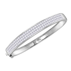 14kt White Gold Womens Princess Diamond Bangle Luxury Bracelet 6.00 Cttw