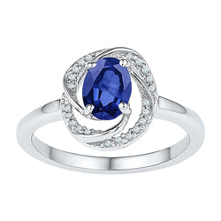 10kt White Gold Womens Oval Lab-Created Blue Sapphire Solitaire Diamond-accent Ring 1/12 Cttw
