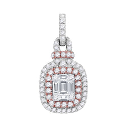 Ladies 18K Gold Two Tone Cushion Cluster Diamond Fashion Charm Pendant 3/8 CT
