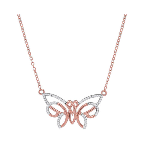 10kt Rose Gold Womens Round Diamond Butterfly Bug Pendant Necklace 1/5 Cttw