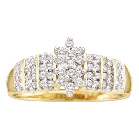 10kt Yellow Gold Womens Round Prong-set Diamond Oval Cluster Ring 1/4 Cttw