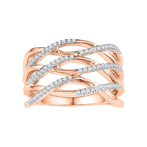10kt Rose Gold Womens Round Diamond Openwork Crossover Strand Band Ring 1/4 Cttw