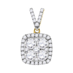 10kt Yellow Gold Womens Round Diamond Square Cluster Pendant 1-1/3 Cttw
