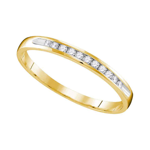 10k Yellow Gold Womens Round Diamond Wedding Anniversary Bridal Band Ring 1/10 Cttw