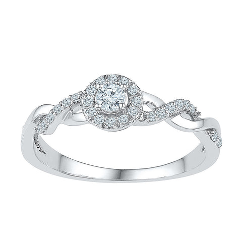 10K White Gold Ladies Cluster Infinity Knot Real Diamond Promise Engagement Wedding Ring 1/5 CT