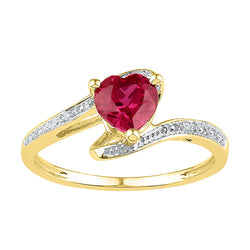 10kt Yellow Gold Womens Heart Lab-Created Ruby Solitaire Diamond-accent Ring 1.00 Cttw - Size 5