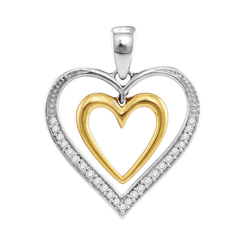 10kt Two-tone Gold Womens Round Diamond Dangling Nested Heart Love Pendant 1/6 Cttw